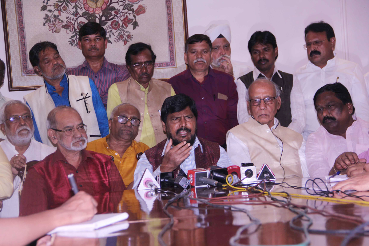 RPI Leader & Social Justice Empowerment MOS Ramdas Athawale Press Conference at Sahyadri Guest House .