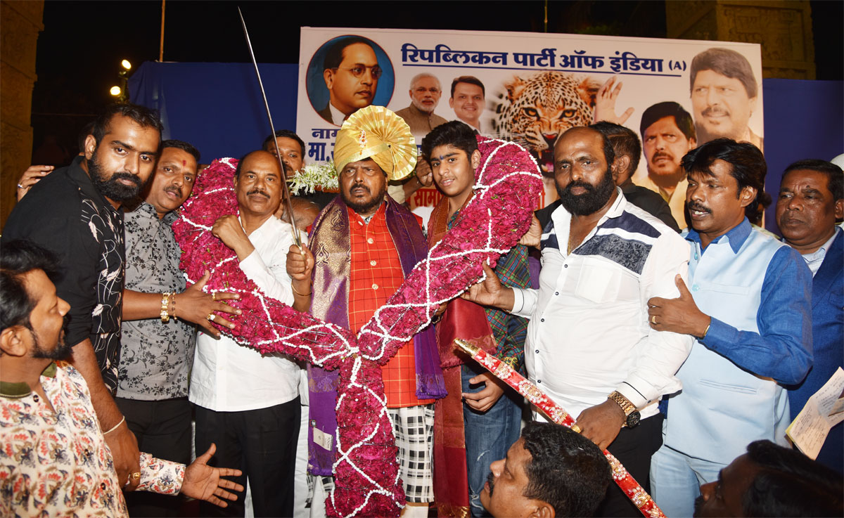 RPI Mass Leader MOS Ramdas Athawale Welcomed at Mumbai Airport & Felicitated by Party Workers after 2nd Term Swearing Ceremony as Union Minister.