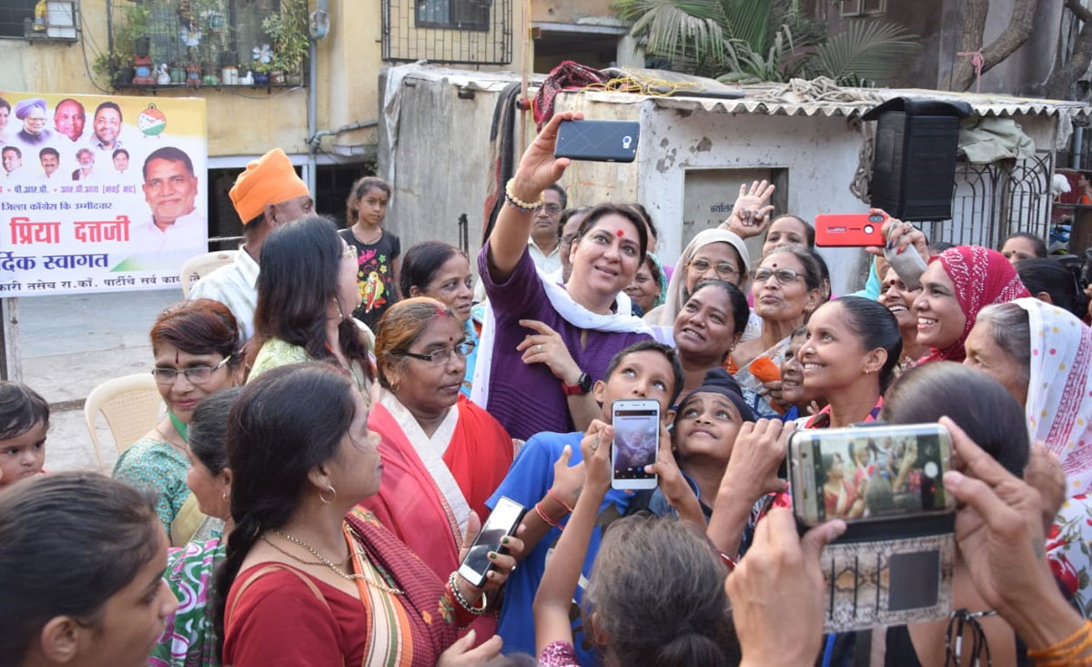 Mumbai North Central LS Congress-NCP Candidate Priya Dutt  during her Election Campaign at Kalina.