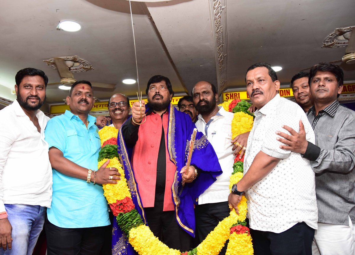 RPI Leader Social Justice & Empowerment MOS Ramdas Athawale at Chembur during Party Karykarta Melava.