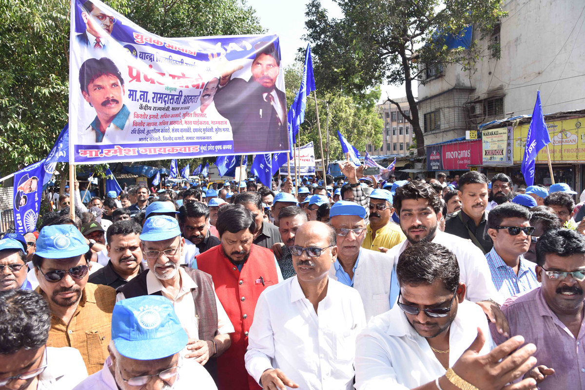 RPI Protest Rally at Bandra in Chief Presence of RPI National Leader & MOS Ramdas Athawale