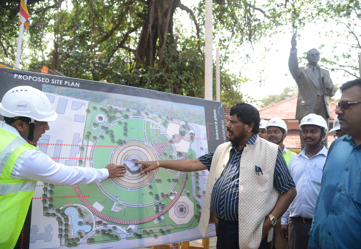 Union Minister Of State & RPI President Ramdas Athawale Visit at Indu Mill Dadar.