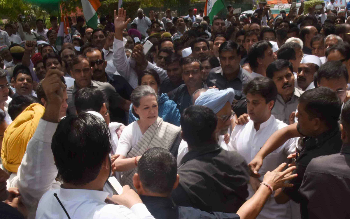 "AICC in Chief Presence President Sonia Gandhiji & Rahul Gandhi Protest March against BJP Govt. as "" Loktantra Bachao Rally"" from Delhi Jantar Mantar to Parliament."