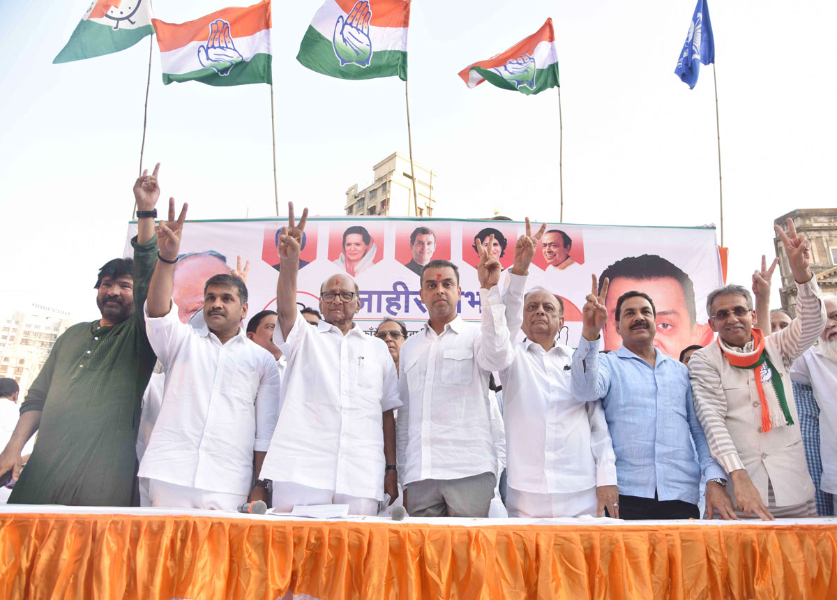 NCP Chief Sharad Pawar Inauguration Congress Candidate Milind Deora Election Office at Opp.Alankar Cinema Khetwadi.