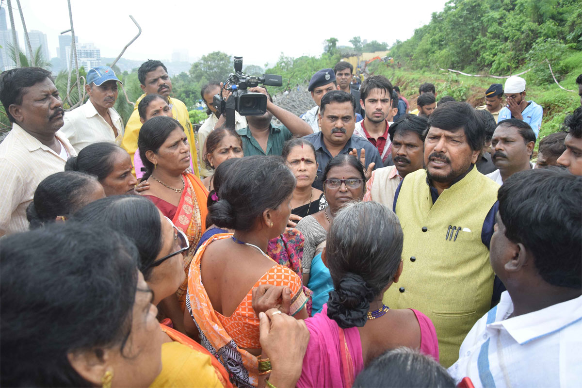 Union Minister Ramdas Athawale Visit to the Family Members of the Presons,who were Died & afeected due to Collapse of Wall.at Village Kurar Malad .