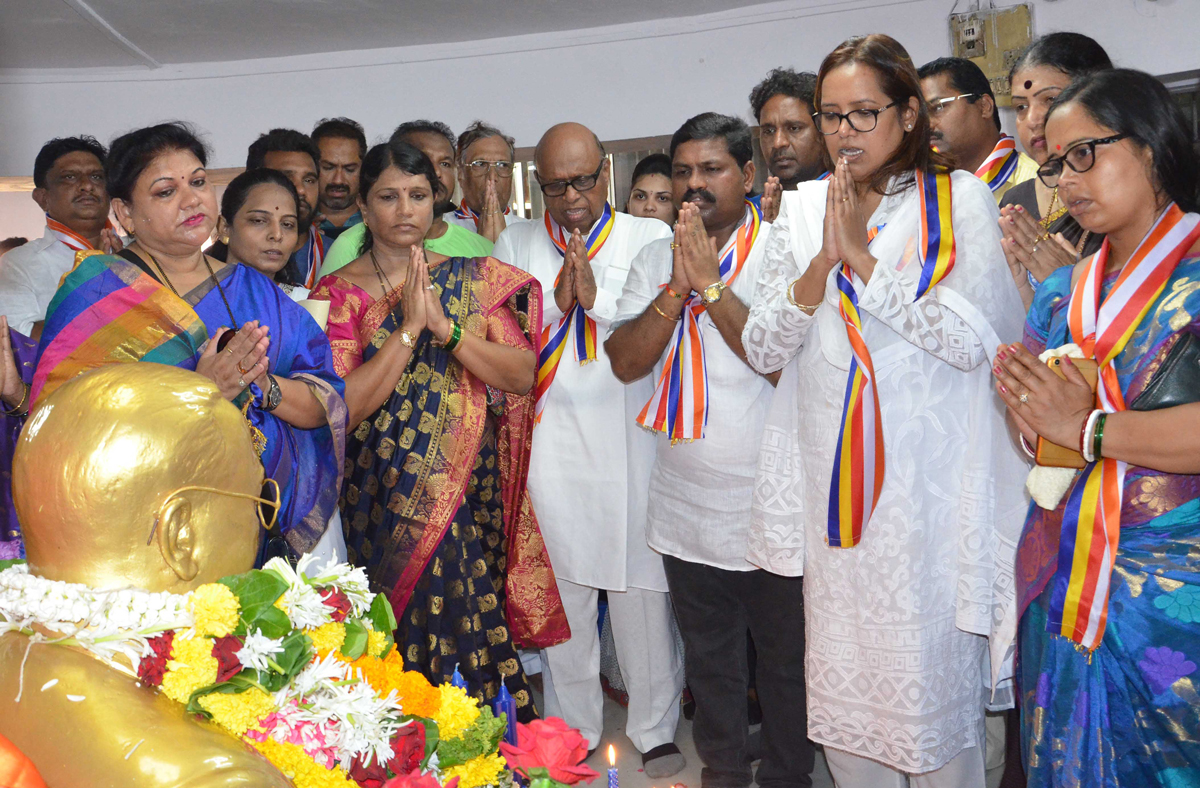 On 127th Birth Anniversary of The Father of Indian Constitution,Bharatratna Mahamanav Dr. Babasaheb Ambedkar Mumbai Leaders offers Floral Tribute at Chaityabhumi Dadar.