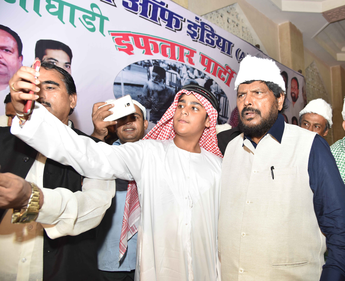 RPI Leader Social Justice & Empowerment MOS Ramdas Athawale with Son Jeet Athawale during Ramzan Roza Iftaar Party at Haj House organised by RPI Minority Dept.