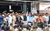 Congress Leaders at Andheri Station for Rail Roko on todays Bharat Baandh.