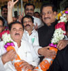 CHIEF MINISTER PRITHVIRAJ CHAVAN ,NCP STATE PRESIDENT MADHUKARRAO PICHAD ON OCCASION KIRAN PAWASKAR WIN ELECTION AT VIDHAN BHAVAN.