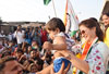 Mumbai North LS Congress-NCP Candidate Urmila Matondkar During her Campaign Rally.