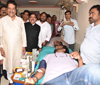 Ex.Chief Minister Prithviraj Chavan & Ex. MLA Madhu Chavan during Blood Donation Camp at Byculla.