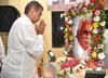 Mumbai Congress President Milind Deora Paying Floral Tribute to Senior Congress Leader Velluswami Naidu during his Condolence Neeting.