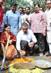 South Mumbai Congress Party Leader Ex.MP & Ex.MOS Milind Deora during Bhoomipujan of  Road at Love Lane Mazgoan.