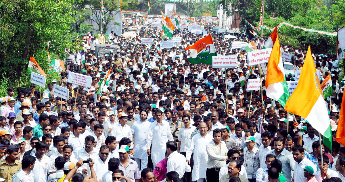 MP.DR.NILESH NARAYANRAO RANE IN CONGRESS PARTY PROTEST RALLY AT SINDHUDURGH.