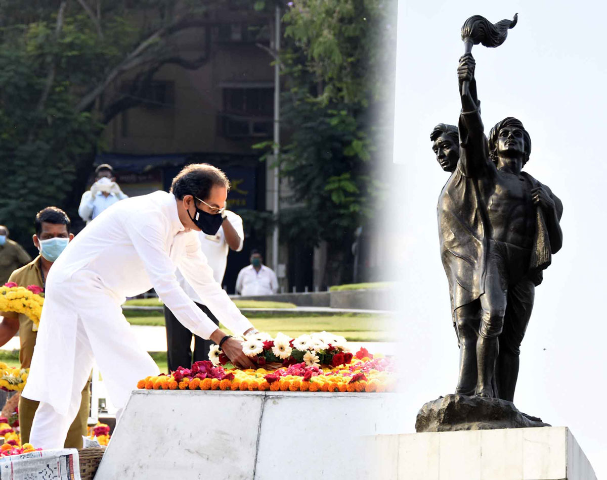 Tribute at Hutatma Chowk by Chief Minister Uddhav Thackarey on occasion of 60th Maharashtra Day & Kamgar Din at Hutatma Chowk Mumbai Fort .