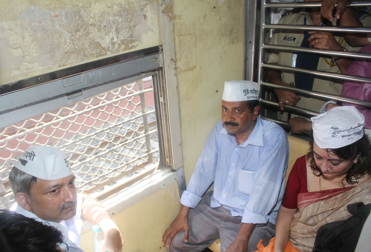 """Aam Aadmi Party "" Leader & Ex.Chief Minister of Delhi Arvind Kejriwal travelled by Western Railway in Mumbai."
