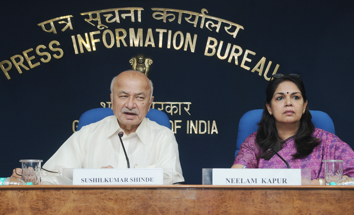 UNION MINISTER OF HOME SUSHILKUMAR SHINDE PRESS CONFERENCE AT NEW DEHLI.