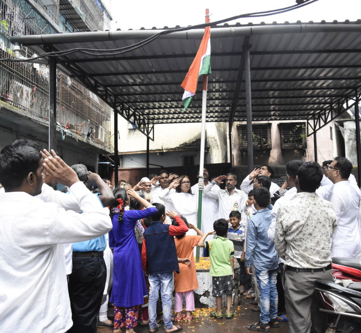 Flag Hosting on Independence Day at Dharavi Assembly by MLA Varshatai Gaikwad.