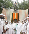 Congress Party Leaders Paying Floral Tribute to Lokmanya Bal Gangadhar Tilak at his Statue o Girgaon Chowpatty.